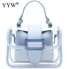 Blue Crossbody Bags For Women 2020 Fashin PVC Jelly Handbag Transparent Bag With 2 Piece Bag Chain Shoulder Bag Tote Bolso Mujer