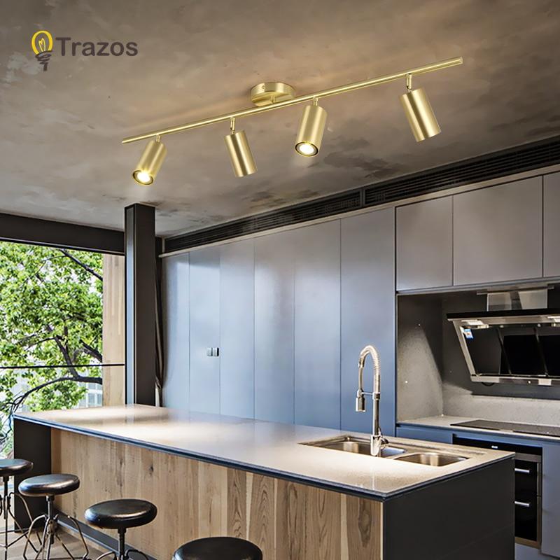 TRAZOS LED Gold/Black/White Ceiling Lights Living Lamp Nordic Lighting For Kitchen Aisle Spot Light Surface Mounted AC90-260v