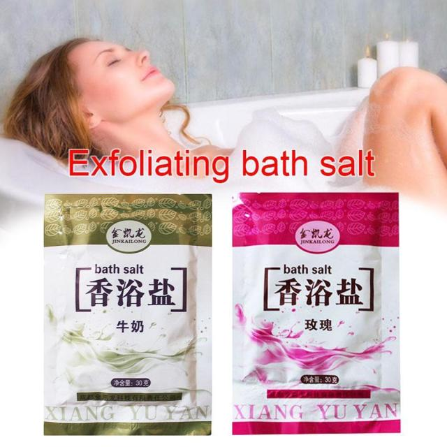 1 Bag Bath Sea Salts Rose Powder Shower Body Foot Massager Skin Care SPA Exfoliation Scruber Gift