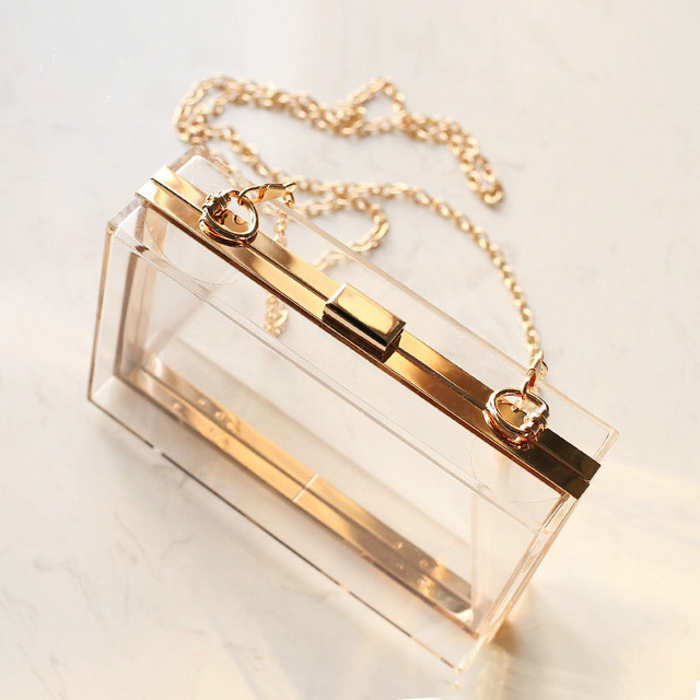 Женский прозрачный клатч на цепочке