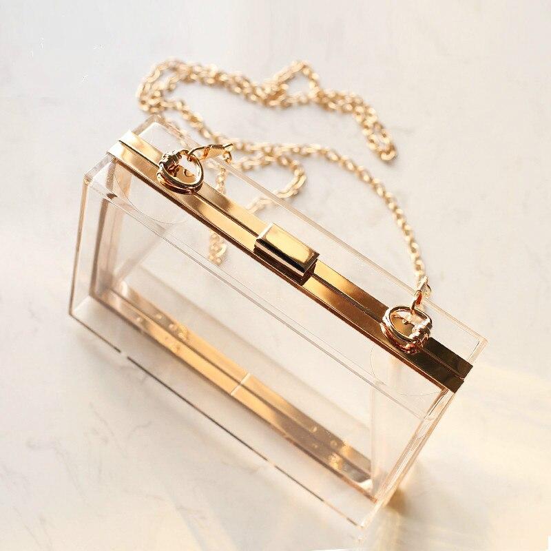 Neue Acryl Transparent Frauen Kupplung Tasche Kette Luxus Marke Frauen Umhängetasche Abend Tasche Handtasche Kette Schulter Tasche
