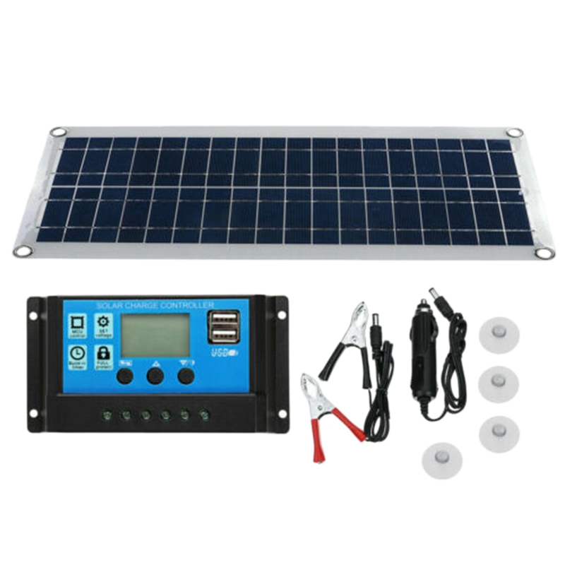 Quality 30W Dual USB Flexible Solar Panel Kit+ Controller+Clip Outdoor Car Charger Power