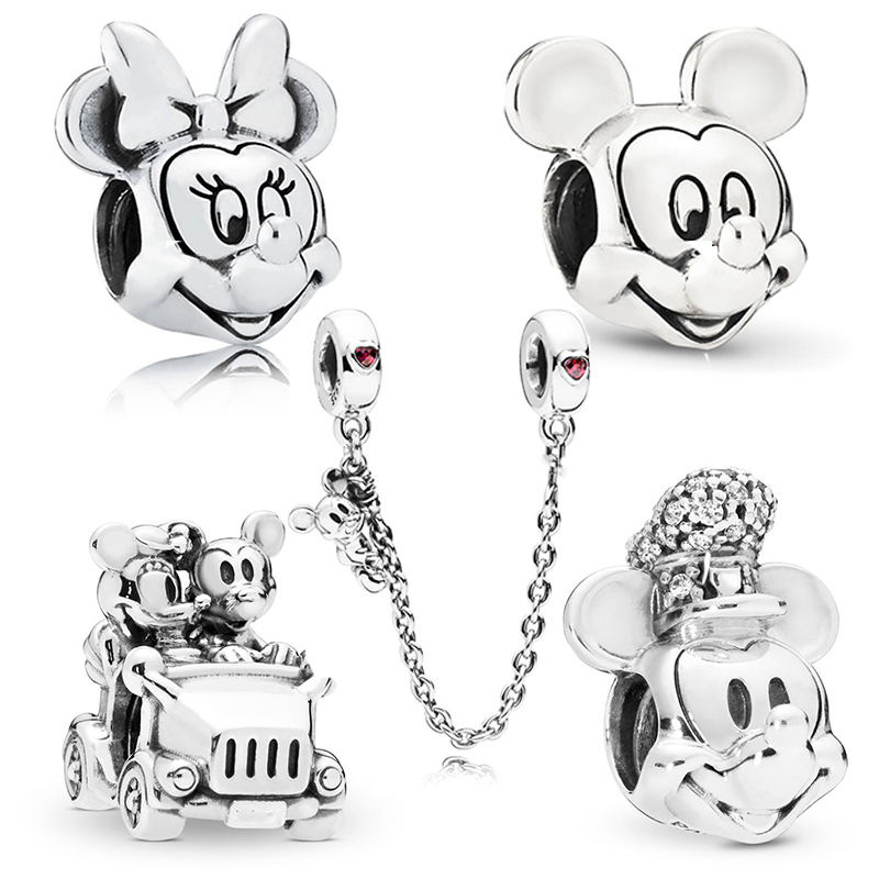 BAOPON 2Pcs/lot Cartoon Mickey Minnie Beads Fits Pandora Bracelet Necklace DIY Making Charms Bracelet For Women Jewelry Gifts(China)
