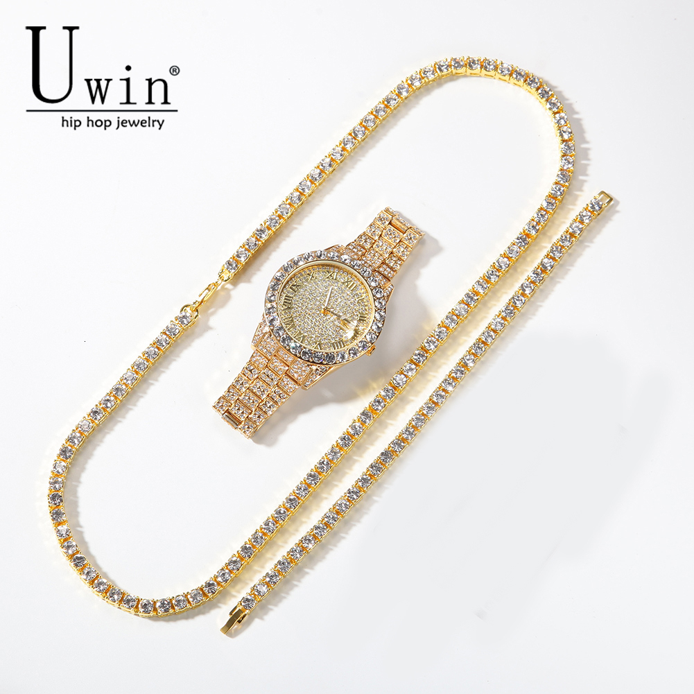 Uwin Tennis Chain <font><b>Bracelet</b></font> Necklace Watch <font><b>Set</b></font> Gold silver color And Double Color Rhinestone Fashion Hip Hop Jewelry Trend image