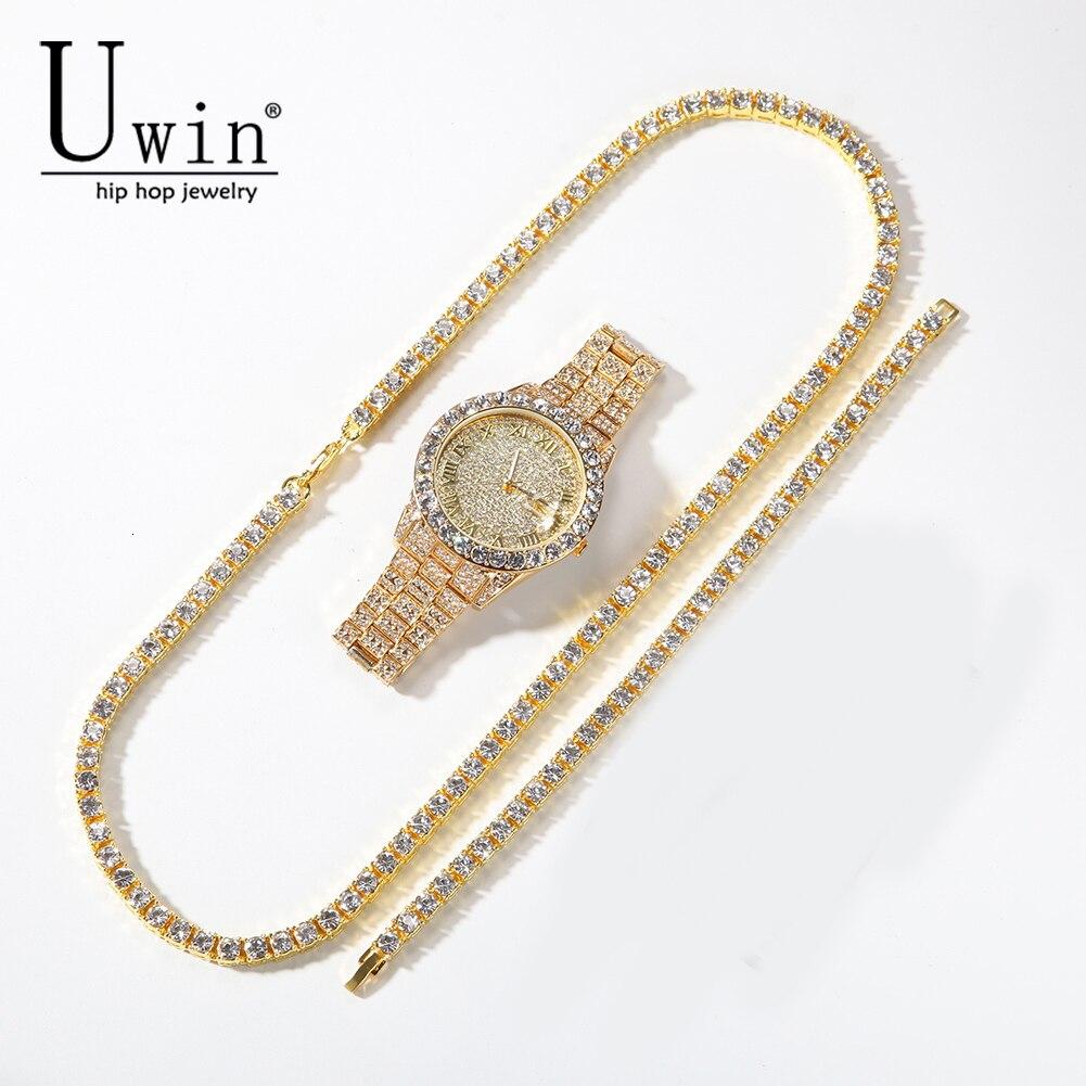 Uwin Tennis chaîne Bracelet collier ensemble de montre or argent et Double couleur strass mode Hip Hop bijoux tendance
