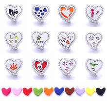 1pcs Aroma Diffuser Heart 18mm Snap Buttons Perfume Locket Magnetic Stainless Steel Essential Oil Bracelet Jewelry