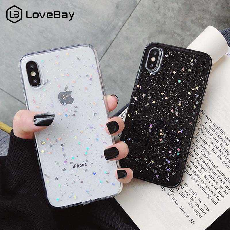Lovebay Glitter Phone Case Voor iPhone 11 Pro 7 8 6 6s Plus X XS XR XS Max Bling moon Stars Pailletten Zachte TPU Clear Silicone Cover