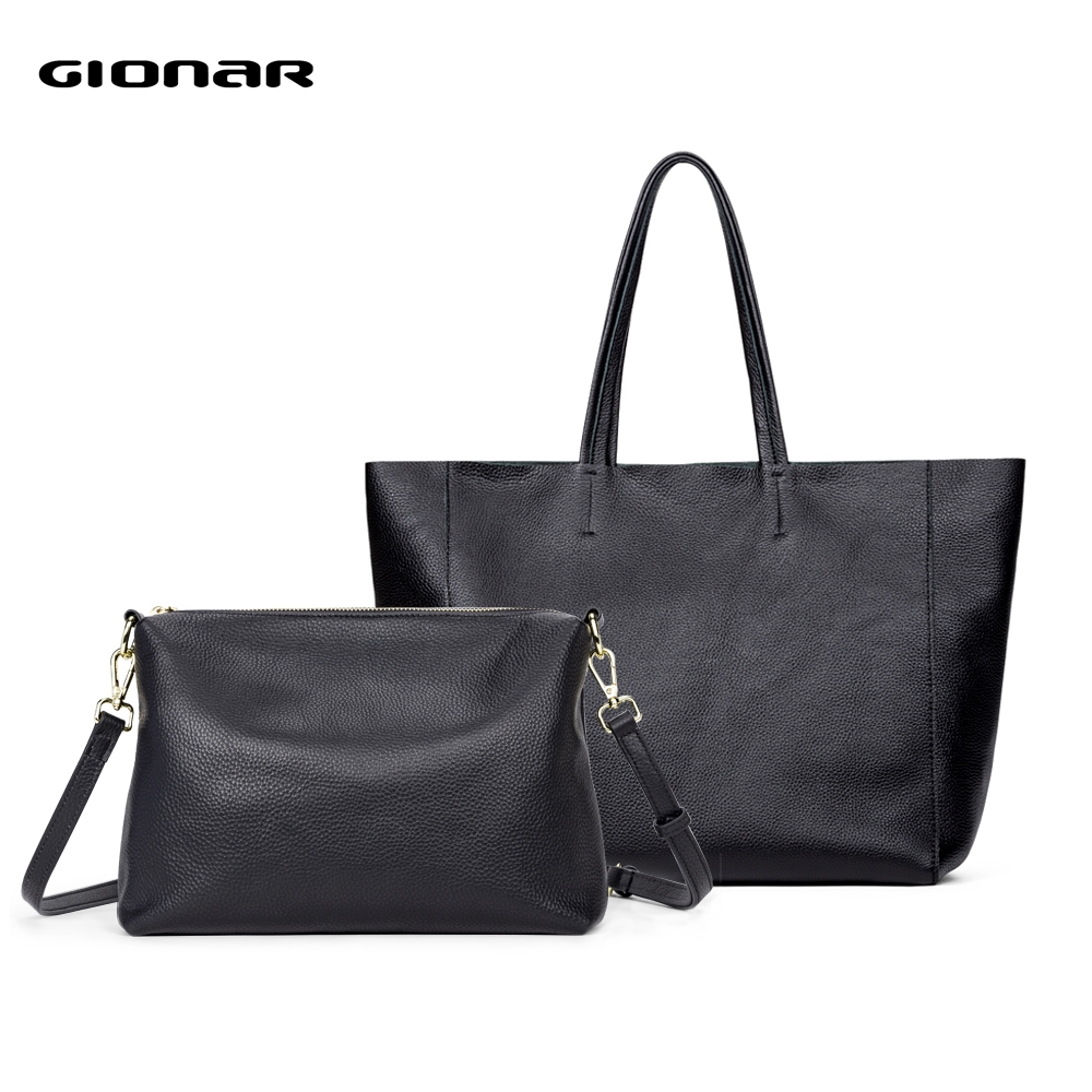 GIONAR Soft Genuine Cow Leather Classic Black Tote Bag For Women Work Large Shoulder Laptop Bag Multipurpose Composite Handbag