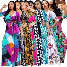 2019 New Arrival A-line Plaid Half Tassel Floor-length Regular Womens Sexy V-neck Beautiful Print Large Size And Floor Dress