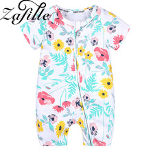 цена на ZAFILLE Summer Baby Rompers Newborn Infant Baby Girl Clothes Cotton Baby Boy Jumpsuits Printed Short Sleeve Baby Clothing Bebes