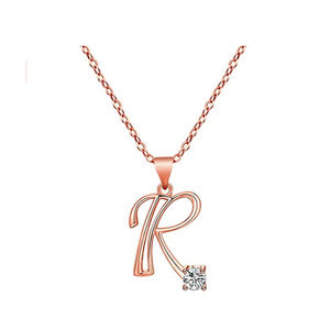 Trendy Rhinestone Letter Necklace Silver Color 26 English Alphabet Name Pendants Necklaces Jewelry Love Gifts