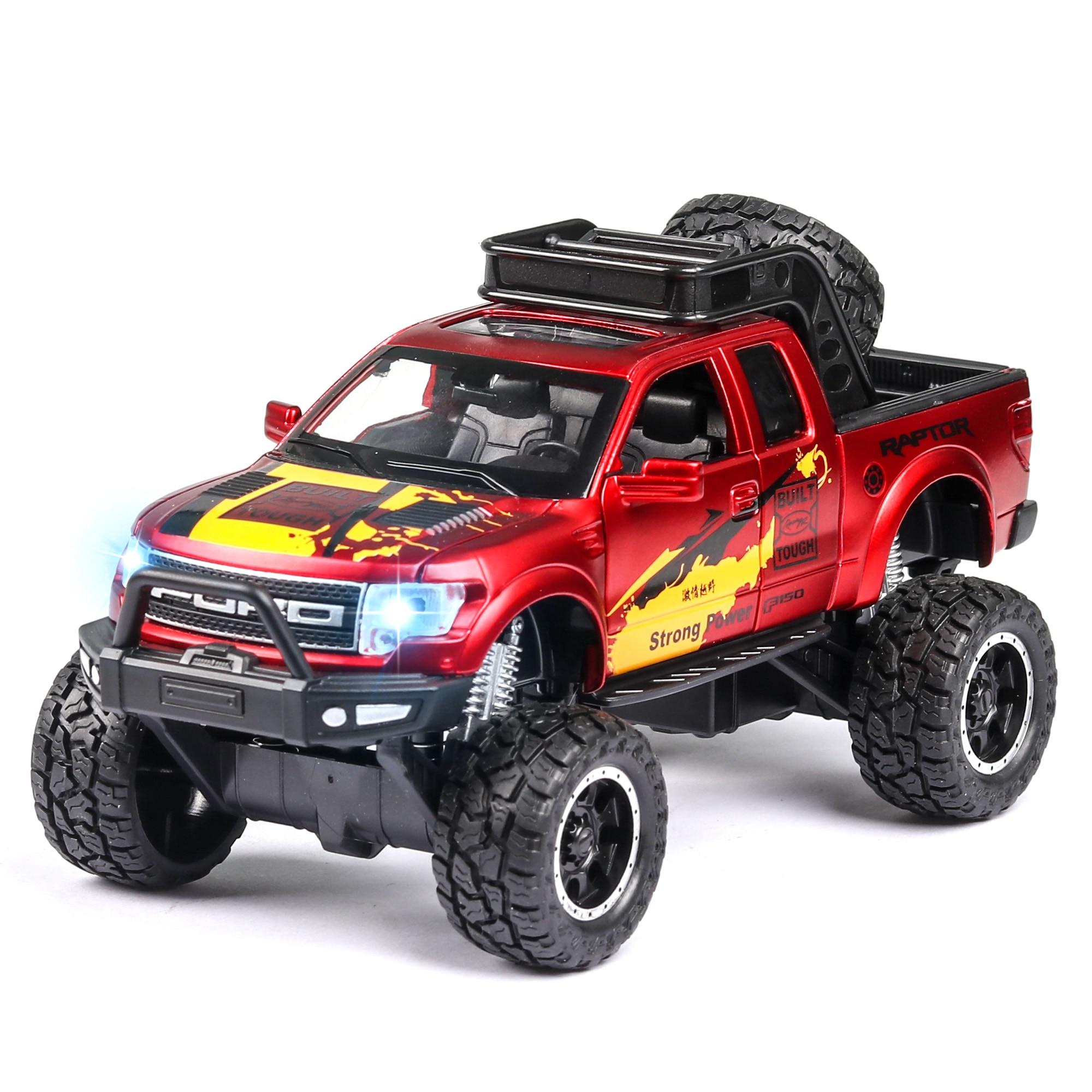 1:32 Diecast Metal Model Car FORO RAPTOR F150 Off-road Shockproof Toy Wheels Alloy Vehicle Sound Light Pull Back Car Boy Kid Toy
