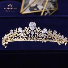 Bavoen Elegant Gold Leaves Brides Tiara Crown Zircon Crystal Hairbands Wedding Hair Accessories Evening Hair Jewelry
