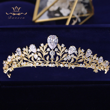 Bavoen Elegante Gold Blätter Bräute Tiara Crown Zirkon Kristall Hairbands Hochzeit Haar Zubehör Abend Haar Schmuck