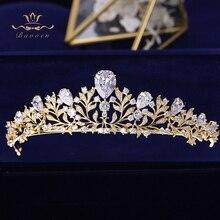 Bavoen Elegante Gouden Bladeren Bruiden Tiara Kroon Zirkoon Crystal Haarbanden Bruiloft Haar Accessoires Avond Haar Sieraden