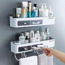 Chuveiro removível prateleira de armazenamento de perfuração-livre organizador de armazenamento de parede rack de drenagem organizador titular acessórios do banheiro