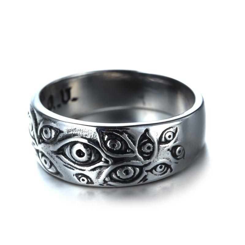 Vintage Punk grabado ojos anillo de dedo de la joyería Hip Hop Rock anillo cultura Unisex mujer hombre fiesta anillos de Metal Accesorios