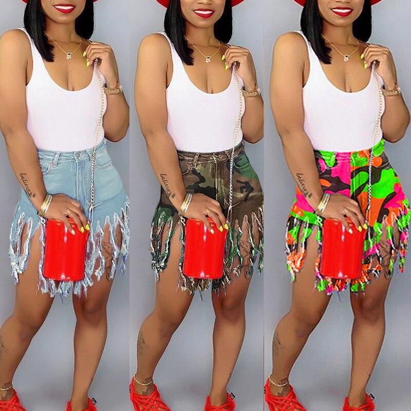 Plus Size Tassels Casual High Waist Denim Shorts Women Fashion Blue High Waist Streetwear Club Party Short Jeans Biker Shorts