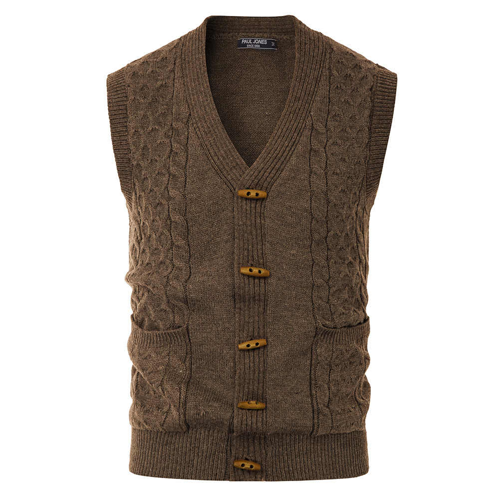 Men's Wood Button Sweater Vest Sleeveless Knitwear With Pockets V-Neck Spring Fall Clothes Male Solid Color Warm Knitwear Tops