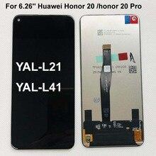 원래 AAAA 6.26 화웨이 명예 20 명예 20 프로 YAL L21 YAL L41 YAL AL10 LCD 디스플레이 터치 스크린 디지타이저 어셈블리 부품