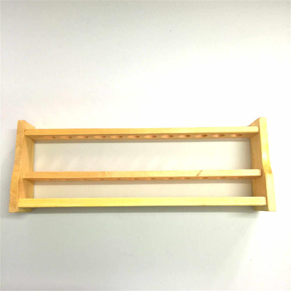 木製試験管ラック穴厚い木製比色管スタンド 10 ミリリットル * 12 穴直径 18 ミリメートル化学実験室用品