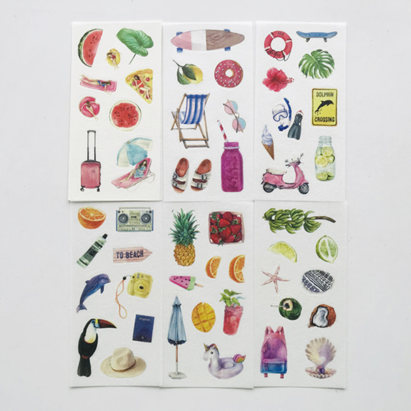 6 Sheets Cool Vacation Hawaii Washi Paper Stickers DIY Decorative Sealing Paste Stick Label