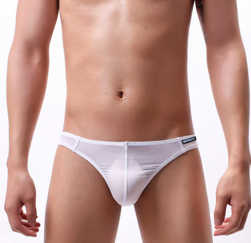 Men Ice Silk Low-Rise Bikini Briefs G-String Thong Stretch Panties Underwear
