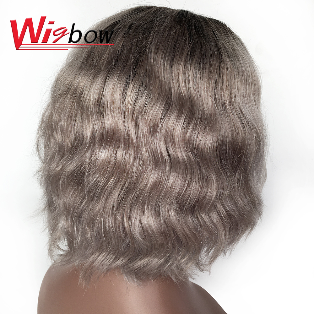Short Natural Wave Grey Wigs Bralizian Hair 100% Human Remy Hair T1B/Grey Color Pre-Plucked Wigs Wigbow Shipping For Free