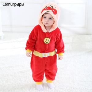 Image 2 - Inverno kawaii roupas da menina do bebê anpanmanonesie bebê recém nascido macacão de algodão do miúdo macacão infantil festa onesies macacão bonito traje