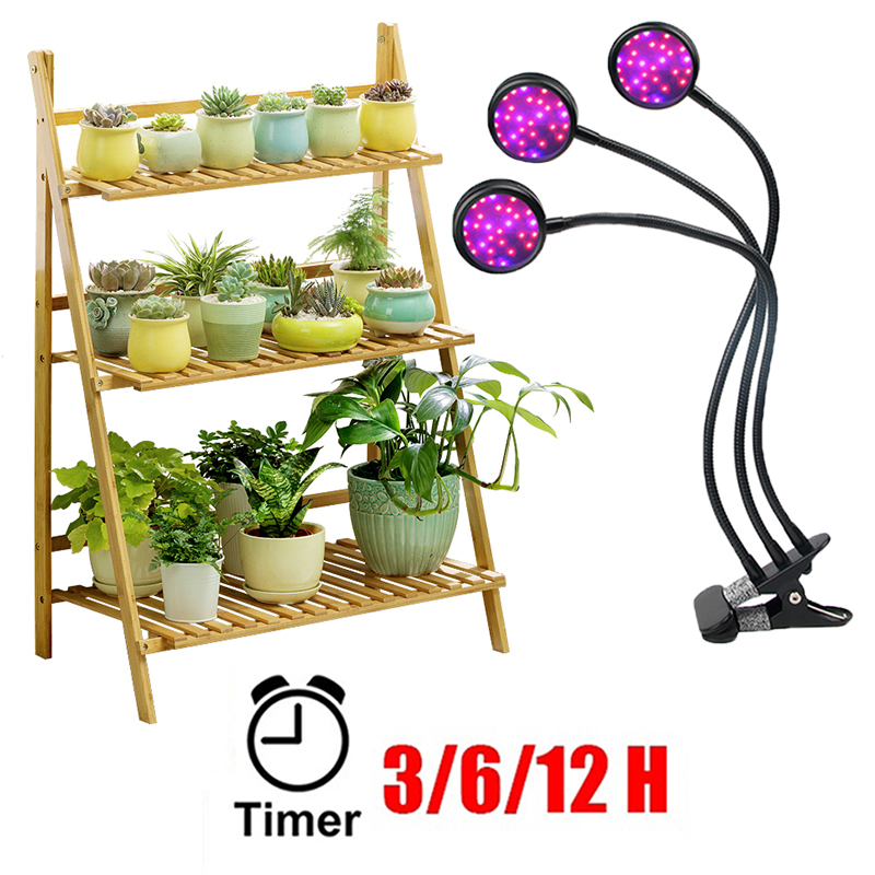 Lamp For Plant Shelves LED Grow Light Phyto Lamp With Timer Full Spectrum Indoor Succulent Garden Seedlings Growth Home Flowers