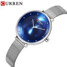 CURREN Elegant Women Watches Quartz Stainless Steel Silver Mesh Watch Female Simple Blue Ocean Dial for Ladies Clock Reloj Mujer