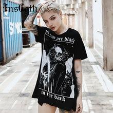 InsGoth Women Loose Black T-shirts Gothic Grunge Punk Harajuku Skull Peinted T-shirts Halloween Party Long Tops Female T-shirt