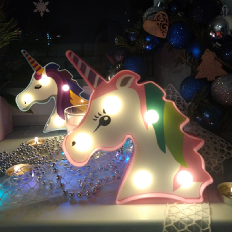 Unicorn Party Decoration 3D Unicorn Flamingo Alpaca LED Light For Home Decor Bedroom LED Light Kids Birthday Baby Shower Light