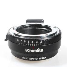 цена на Lens Mount Adapter with Aperture Dial, Nikon G,DX,F,AI,S,D type Lens to Sony E-Mount NEX Camera, Nikon G -NEX Camera Adapter