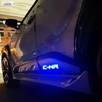 Car Styling ABSCar Body Below Side Moulding Strip Decorative Cover Trim with led fit For Toyota C HR CHR 2016 2017 2018
