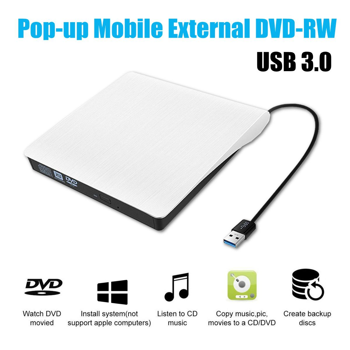 Hot Sales White USB 3.0 Slim External DVD RW CD Writer Drive Burner Reader Player Optical Drives For Laptop PC