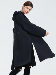Астрид плащ Для женщин с капюшоном плюс Размеры ветровка Мода готический Длинные свободные пальто 2019 новых B02