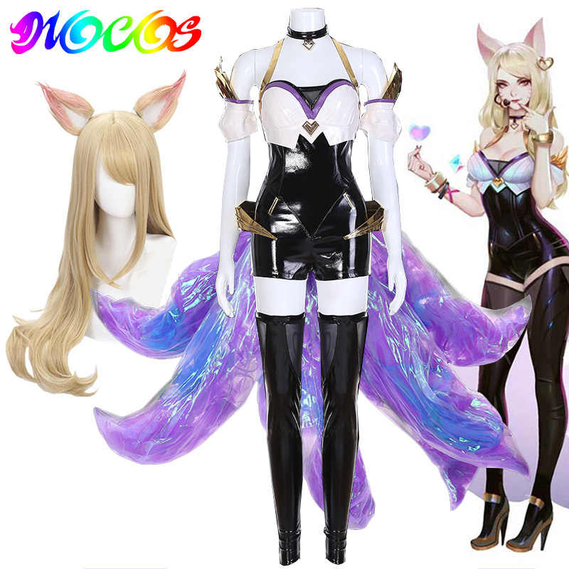 DIOCOS LOL KDA Ahri Cosplay Costume Ahri Wigs Tails Women Bodysuit with Socks for Halloween Party