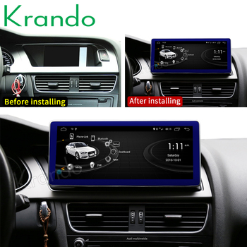 Krando Android 10.0 4G 64G 10.25'' IPS Black Screen Car Radio Player Navi for Audi A4 A4L A5 2009-2016 Audio WIFI GPS Carplay image