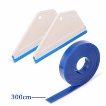 EHDIS 2 szt Ściągaczka czyszcząca z 300cm guma do wymiany ostrze Vinyl Wrap woda wytrzeć skrobak do śniegu okno barwienia narzędzie do mycia samochodu tanie tanio CN (pochodzenie) RUBBER Sticker remover wrap tool rubber blade tint squeegee car cleaning tool car accessories Handled squeegee