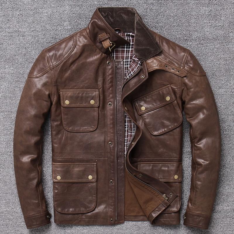 Genuine Leather Retro Hunting Light Wax Tree Cream Many Pocket Favors Coat Layer Sheep Leather Jackets Man