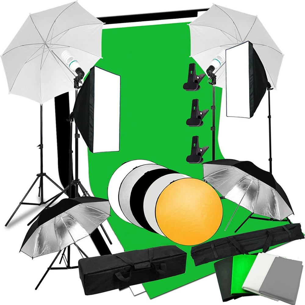 Photo Studio Softbox White Black Green Screen Backdrop Light Stand Umbrella Lighting Kit
