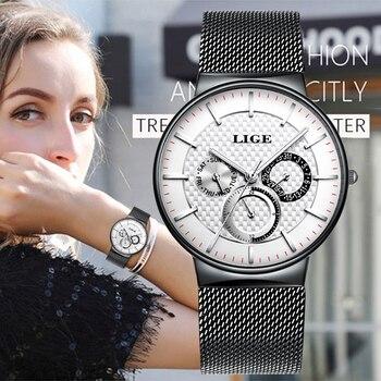 LIGE New White Women Bracelet Watches Waterproof Ladies Watch Stainless Steel Casual Dress Woman Quartz Watch Women Reloj Mujer
