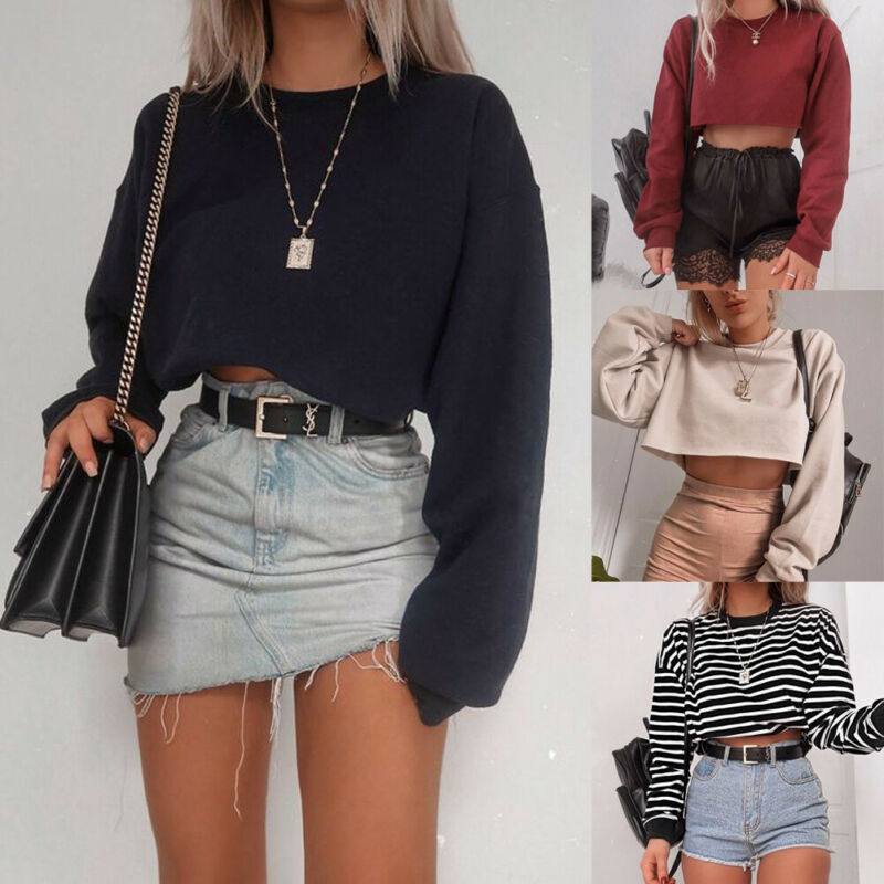 Brand New Women's Spring Autumn Striped Sweatshirt Pullover Crop Top Street Style Jumper Top Pullover Outwear Design Sense