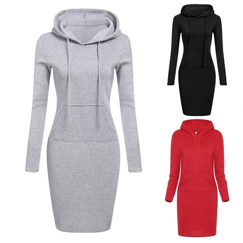 Sweat Femme Capuche Autumn Winter Warm Sweatshirt Long-sleeved Dress Woman Clothing Hooded Collar Pocket Design Simple Woman