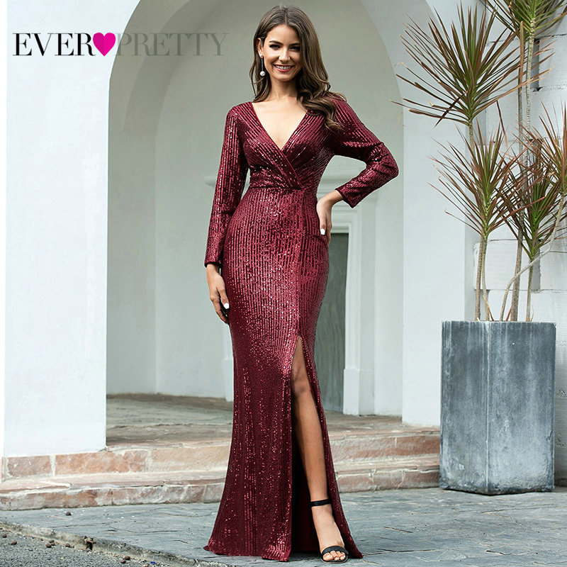 Luxury Mermaid Prom Dresses Long Ever Pretty Sequined V-Neck Full Sleeve Side Split Sexy Formal Party Gowns Robe De Soiree Dubai