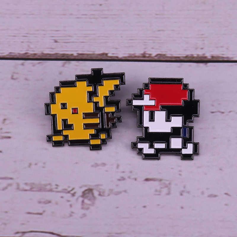 Ash Ketchum & Pikachu esmalte pin pixel 8 bit insignia clásica Pokemon broche de juegos