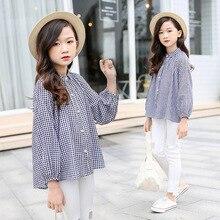 Рубашка для девочек, весенняя одежда, стиль, корейский стиль, средний и большой размер, серия MORI, черно-белая клетчатая рубашка для девочек