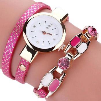 Watch Women Ladies Fashion Bracelet Watch Faux Leather Band Round Dial Analog Quartz Wrist Watch relogio feminino complementos m
