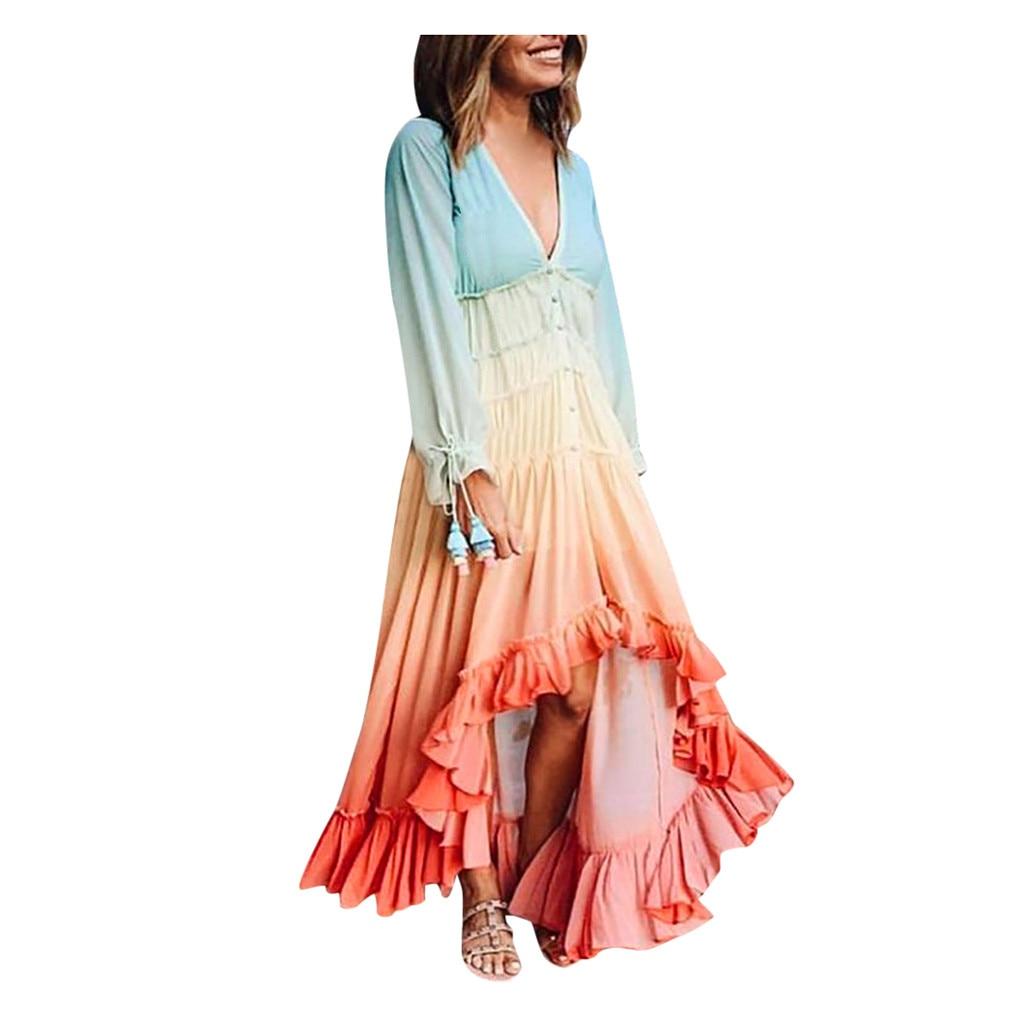 Womail Butterfly Sleeve Dress Fashion Women's Long Sleeve V-neck Single-Row Button Luxury Beach Dress 2019 Autumn Dresses Women